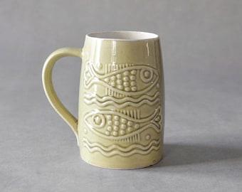 Vintage West German pottery jug beer mug fish blue Mid-Century Modern 60son