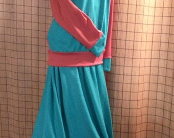 Burnt orange and teal, 2 piece skirt and top