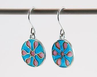 Silver plique a jour enamel, stained glass earrings, blue & pink flower