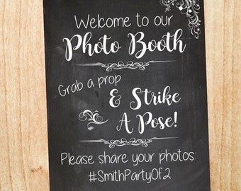 Wedding Photo Booth Hashtag sign. Wedding Photobooth welcome sign. PRINTABLE chalkboard custom personalized photobooth selfie station