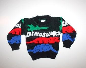 DINOSAURS SWEATER - Vintage Little Boy - Retro Sweater - Dinos - 6 to 12 Months