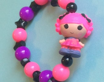 Confetti Carnivale - Lalaloopsy Masquerade Ball Girl Doll Stretch Bracelet with Black Stars and Pink and Purple Beads