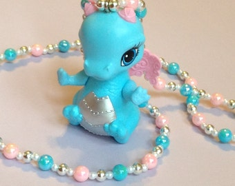 Herowing - Ever After High Darling Charming Dragon Necklace with Pink and Blue Iridescent Pearls and Silver Beads