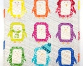 Penguin Parade quilt pattern - paper piecing block - mini quilt