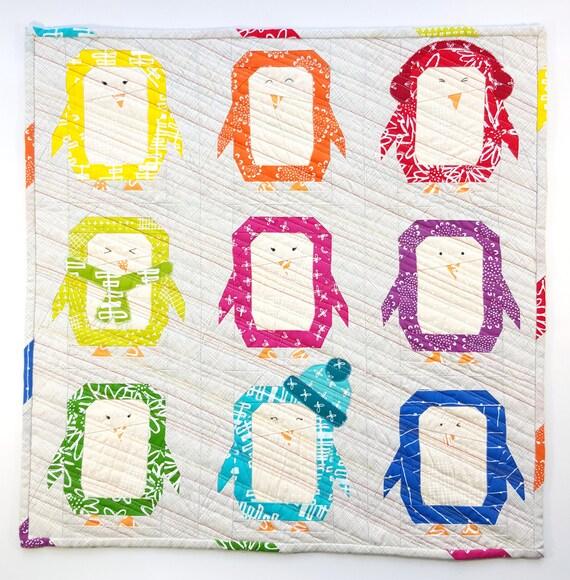 Penguin Parade quilt pattern paper piecing block mini