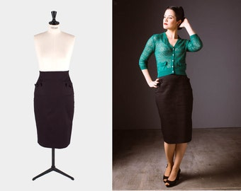 BLACK PENCIL SKIRT/ 1950s high waisted skirt/ Pin up skirt