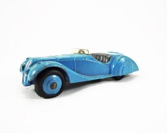 Vintage Dinky Toy, BMW Frazer Nash Model No. 38a Diecast Car, Original Windshield, Very Good Condition, Light Blue, Gray Interior, Blue Hubs