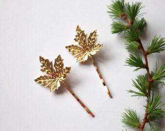 Gold Maple leaf bobby pins, woodland hairclip, wedding hair accessories, bridal hairclip, nature,  woodland hair accessory