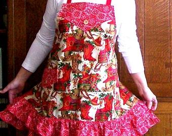 Lone Star Christmas Ruffled Holiday Apron - One Size - Cowboy Christmas Apron Woman Full Ruffled Apron