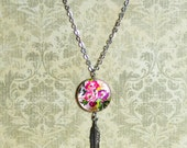 Floral Charm Necklace with Silver Feather