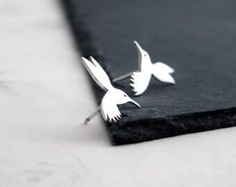 Stud Bird Earrings - Bird Earrings - Silver Stud Earrings - Bird Studs - Hummingbird Earrings - Gift For Women - Hummingbird Wedding