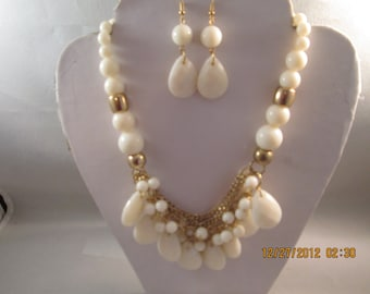 4 Row Bib Necklace with Off White/Ecru Beads and Gold Tone Chains With Matching Earrings