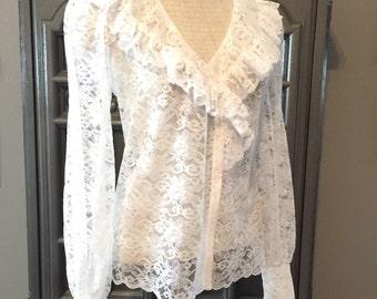 70s Romantic White Lace Blouse