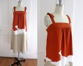 Vintage Sun Dress - Lanz - Tan and Rust - Segulls - Tank - Summer Dress - Shoulder Straps