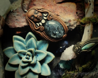 SPECIAL: Moon Phase Goddess Necklace with Larvikite Gemstone... Clay with Healing Gemstone and Crystal Jewelry.