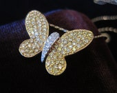 Diamond Butterfly Necklace 18k Vintage Diamonds Authentic Yellow Gold  White Pendant Women's Eighteen Karat Solid