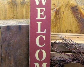 Wood Welcome Sign, Front Door Decor, Welcome Home, Welcome Sign, Housewarming Gift, Wood Sign Saying, Vertical Welcome Sign, Welcome home