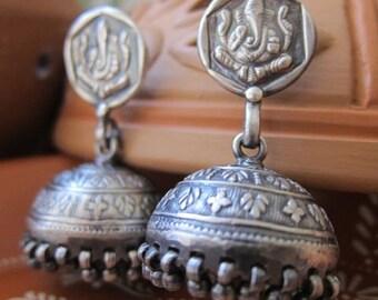 Pure silver - Ganesha Jhumka