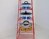 Vintage Red Kitchen Pan Stand