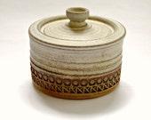 Mid Century Studio Pottery Lidded Pot by Broadstairs Pottery Aztec Design