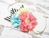 Carnival Rides - headband in salmon pink, coral pink, yellow, aqua, black and cream (RTS)