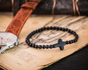 4mm - Matte black onyx beaded stretchy bracelet with black cross, made to order yoga bracelet, mens bracelet, beaded bracelet