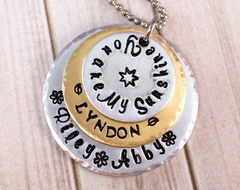 You Are My Sunshine Necklace - Mothers Day Gift - Mommy Necklace - Mom Necklace - Grandmother Necklace - Mixed Metals - Gift for Mom Grandma