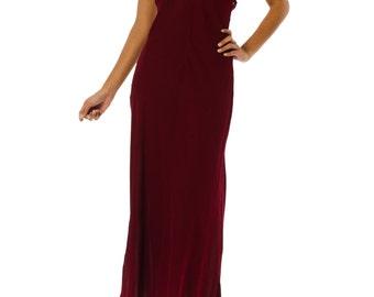 1990s DKNY Silk Bias Cut Burgundy Slip Gown SIZE: M/L, 10