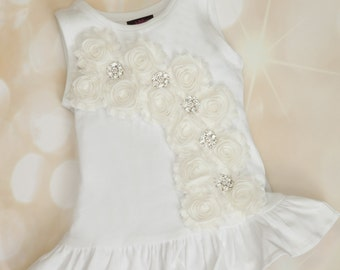 Toddler White Dress Cotton White Dress with Rhinestones and Off white Chiffon comes wiith Matching Headband