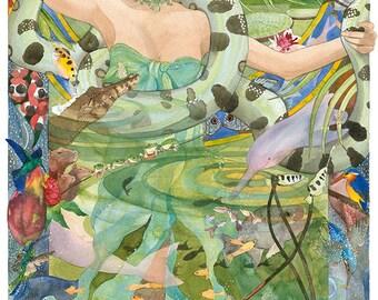 Amazon, Watercolour Giclée print