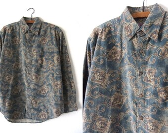 Abstract Fleur de Lis Patterned Button Down Shirt - Smoky Died Swirl Print 90s Long Sleeve Shirt - Mens Small