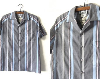 Surfer Style Open Collar Button Down Shirt - Pastel Striped Color Block Short Sleeve Shirt - Mens Small