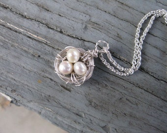 Sterling Silver Three Bird Nest with Pearl Beads; Bird Nest Necklace