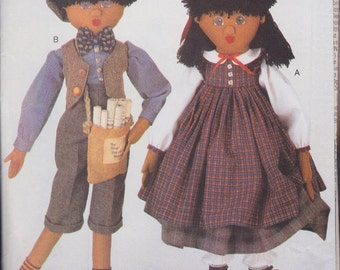 Doll and Cothing Patterns - 32 Inches Tall Newsboy and Old Fashioned Girl Dolls - Collectible Decorative Dolls by Butterick - 4117