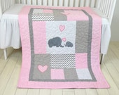 Pink Baby Blanket  Elephant  Crib Quilt, Girl Bedding, Patchwork Bespread
