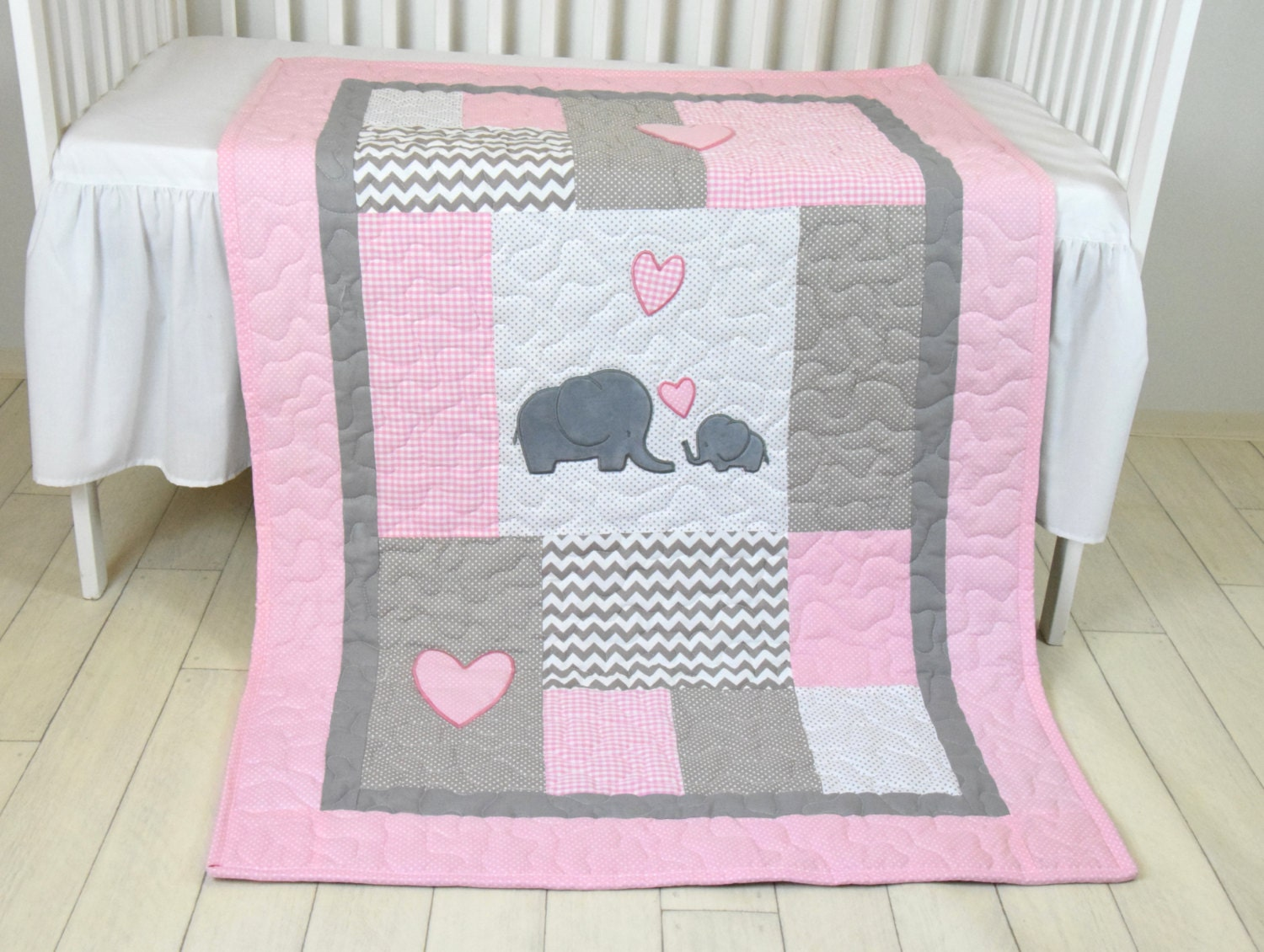 Pink baby blanket elephant crib quilt girl bedding - Colchas cuna patchwork ...