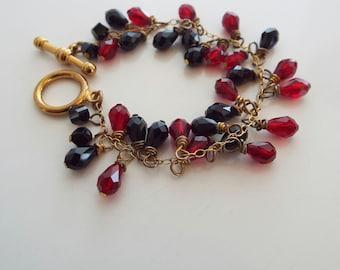 Pretty Beaded Swarovski Crystal Red and Black Bracelet Hand made nice quality