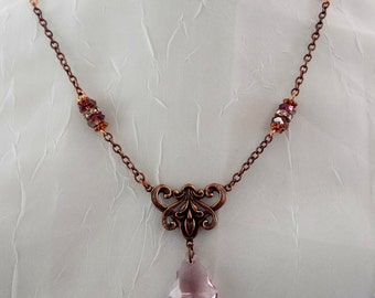 Art Noveau Lilac Purple Crystal Necklace on Copper