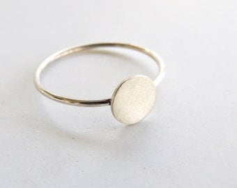 Disk Ring, Dot stacking ring, pinky ring, or midi ring, Stacker, Silver, Gold fill or Solid 14k Yellow Gold, Hand made custom Ring