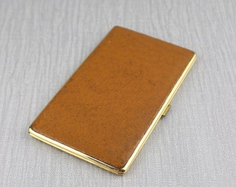 1960's Real Pigskin Pig Skin Cigarette Case Tan Brown Made In England