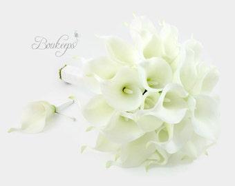 CHOOSE RIBBON COLOR - White Calla Lily Bouquet, Ivory Calla Lily Bouquet, Bridal Bouquet, Real Touch White Calla Lily Bouquet, Boutonniere