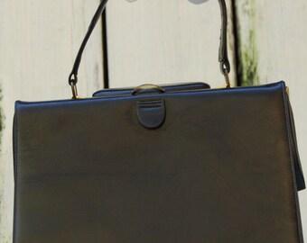 Vintage 60's Box purse. Classic little black purse. Adell of Coronet purse Vintage black handbag