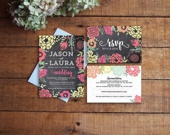 Chalkboard Wedding Invitation, Wedding Invite, Printable Wedding Inviation, Floral Wedding, Woodland Wedding