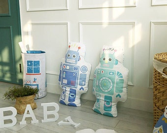 Robots Smooth Minky Fabric Panel - for Stuffed Robots - By the Panel 84440