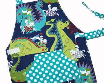 KNIGHTS & DRAGONS Montessori Toddler/Child Apron blue made to order