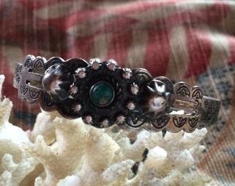 Vintage Sterling Silver Native American Fred Harvey Cuff Bracelet