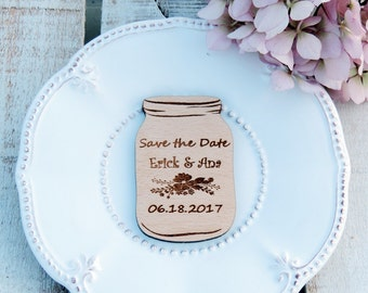 Wood Mason Jar Save The Date for Alicia