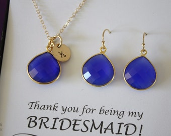 6 Blue Bridesmaid Necklace and Earring set Gold, Bridesmaid Gift, Dark Blue, Royal, Cobalt, 14k Gold Filled, Initial Jewelry, Personalized