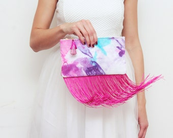 BREEZY 12 / Dyed cotton & Shoulder chain purse with leather tassel - Possible chain adding - Ready to Ship