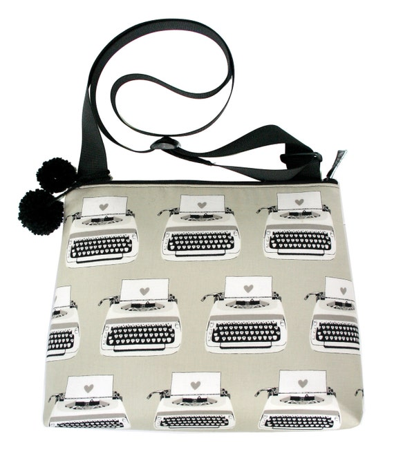 Typewriter, retro, cross body, zipper top